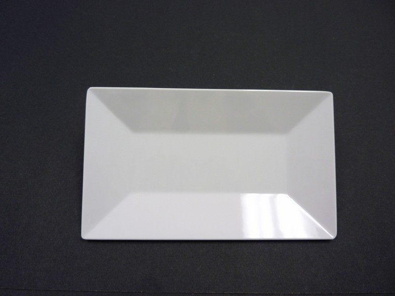 "Yanco RM-212 Rome 12"" x 7 1/2"" Rectangular White Melamine Plate"