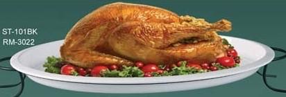 "Yanco RM-3022 Rome 22"" x 18"" Oval White Melamine Turkey Platter"