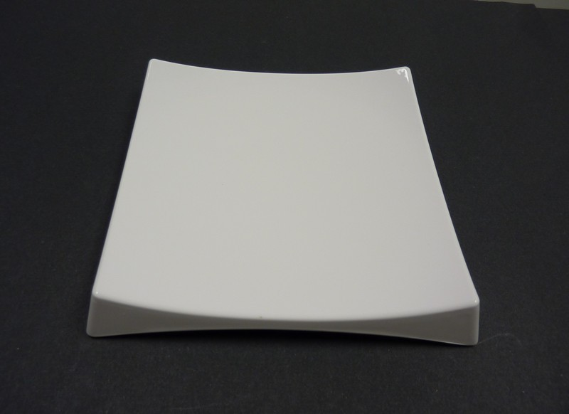 "Yanco RM-4209 Rome 8 1/2"" Square White Melamine Sushi Plate with Feet"