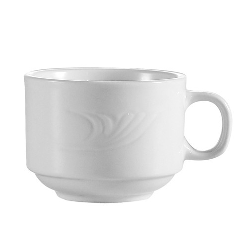 CAC China RSV-1-S Roosevelt Embossed Stacking Cup 8 oz.