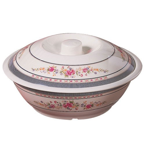 Thunder Group 8010ar Rose Melamine Serving Bowl with Lid 75 oz.