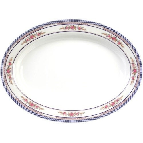 "Thunder Group 2112AR Rose Oval Melamine Deep Platter, 12"" x 9"""