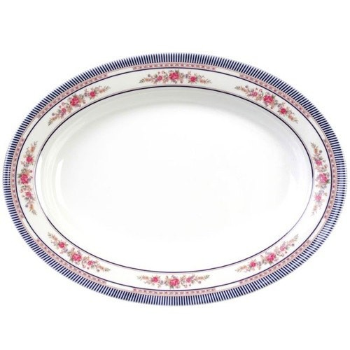 "Thunder Group 2014AR Rose Oval Melamine Platter, 14"" x 10"""
