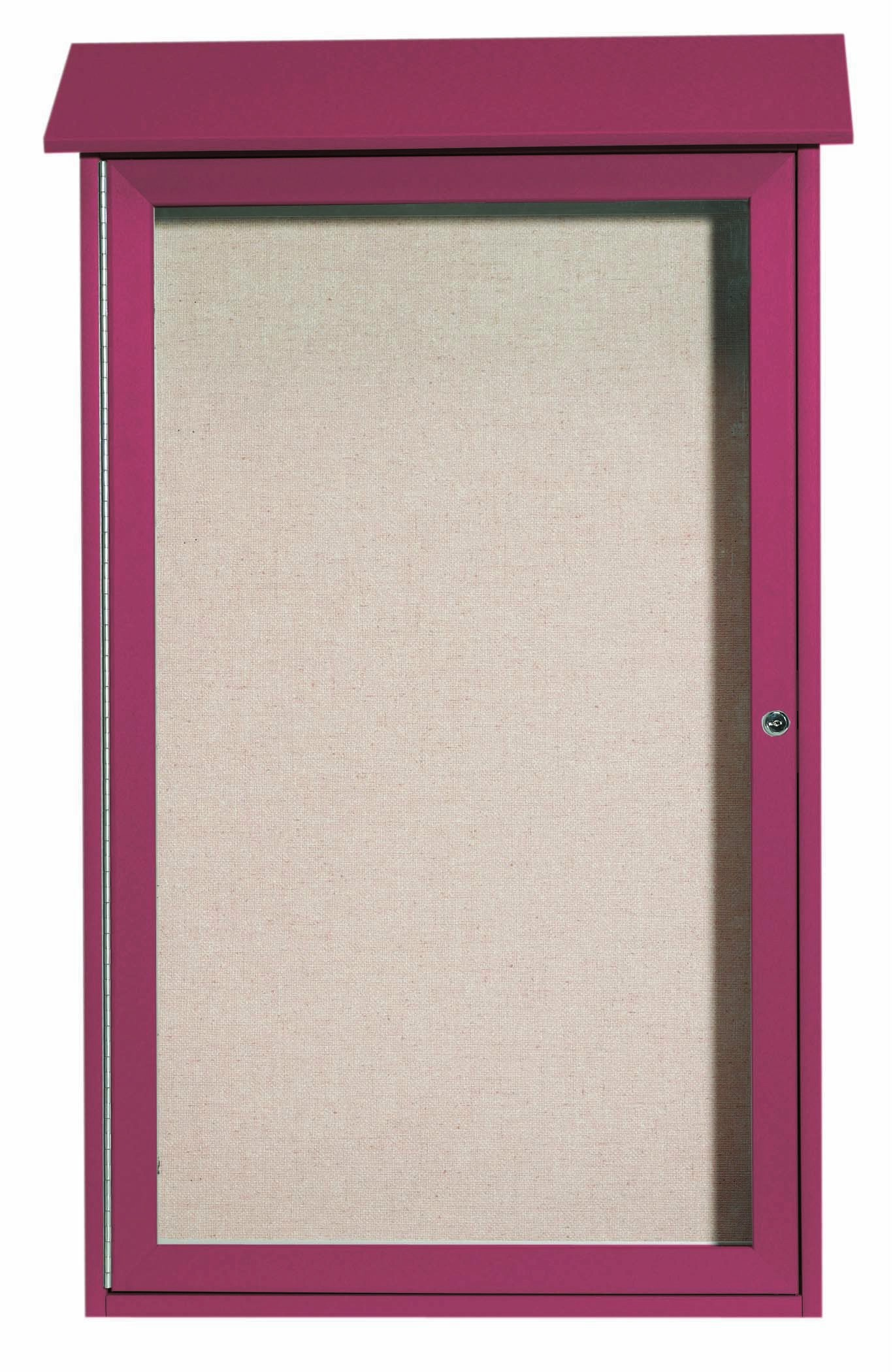 """Aarco Products PLD4226-7 Rosewood Single Hinged Door Plastic Lumber Message Center with Vinyl Posting Surface, 42""""H x 26""""W"""