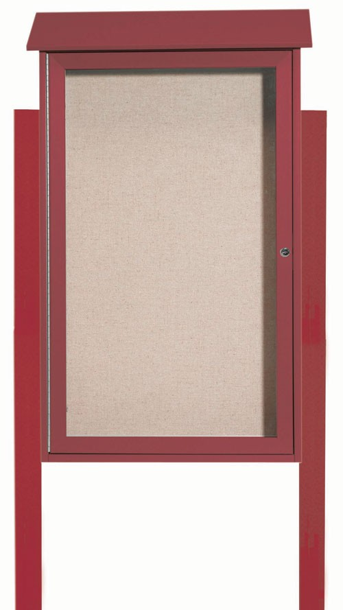 "Aarco Products PLD4226DPP-7 Rosewood Single Hinged Door Plastic Lumber Message Center with Vinyl Posting Surface (Posts Included), 42""H x 26""W"