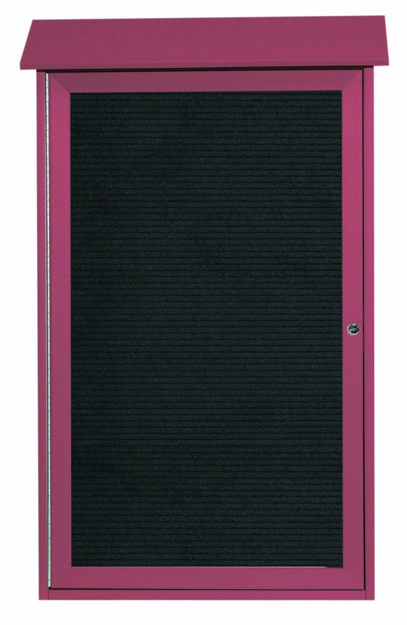 "Aarco Products PLD4226L-7 Rosewood Single Hinged Door Plastic Lumber Message Center with Letter Board, 42""H x 26""W"