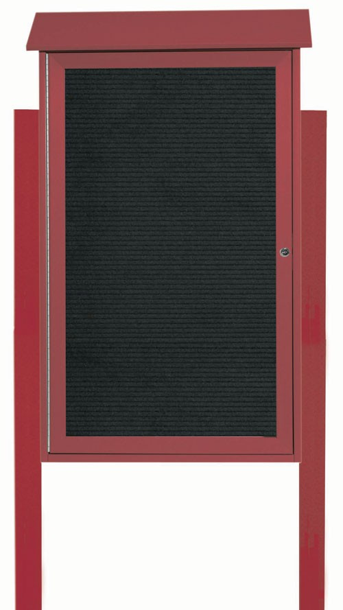 "Aarco Products PLD4226LDPP-7 Rosewood Single Hinged Door Plastic Lumber Message Center with Letter Board (Posts Included), 42""H x 26""W"