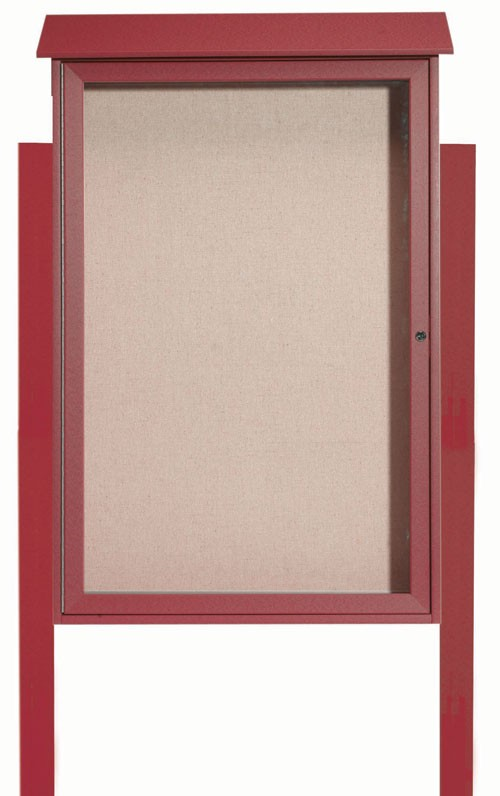 """Aarco Products PLD4832DPP-7 Rosewood Single Hinged Door Plastic Lumber Message Center with Vinyl Posting Surface (Posts Included), 48""""H x 32""""W"""