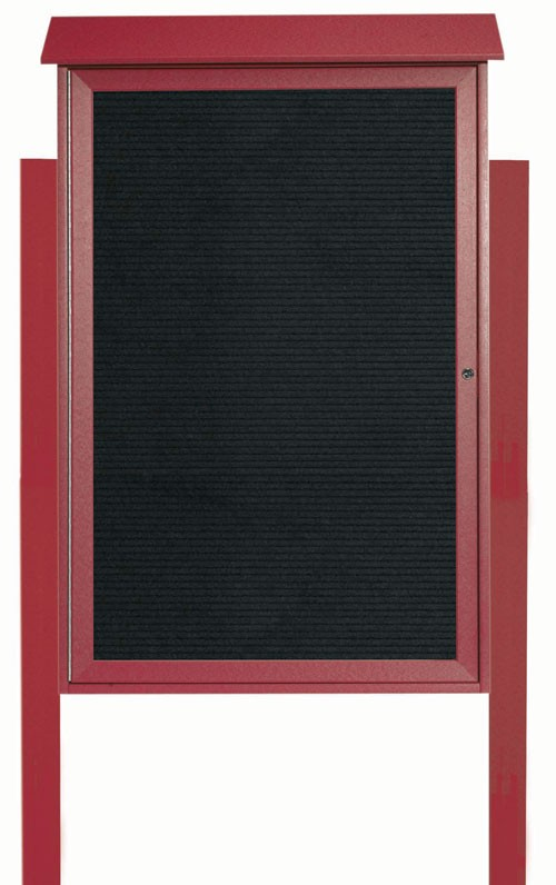 Rosewood Single Hinged Door Plastic Lumber Message Center with Letter Board (Posts Included)- 48