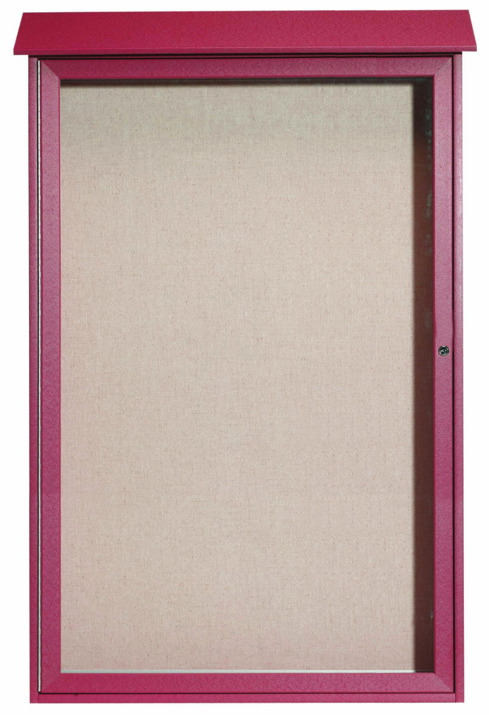 Rosewood Single Hinged Door Plastic Lumber Message Center with Vinyl Posting Surface- 54