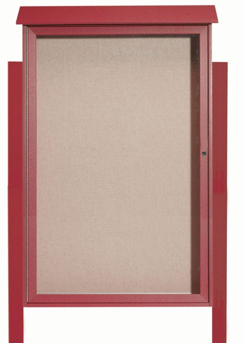 "Aarco Products PLD5438DPP-7 Rosewood Single Hinged Door Plastic Lumber Message Center with Vinyl Posting Surface (Posts Included), 54""H x 38""W"