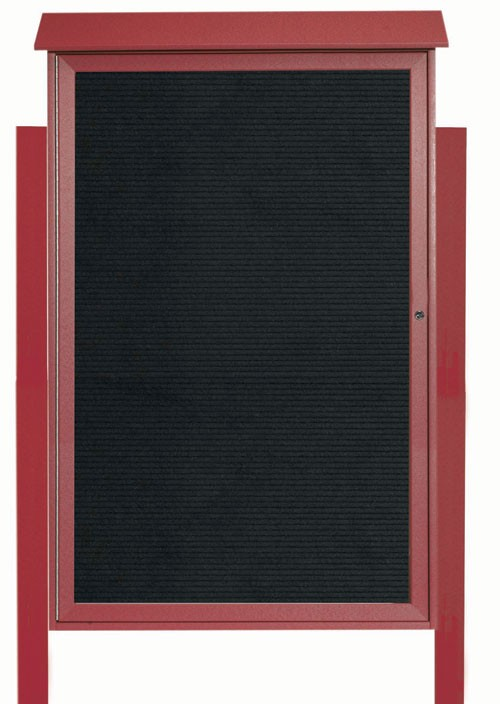 "Aarco Products PLD5438LDPP-7 Rosewood Single Hinged Door Plastic Lumber Message Center with Letter Board (Posts Included), 54""H x 38""W"