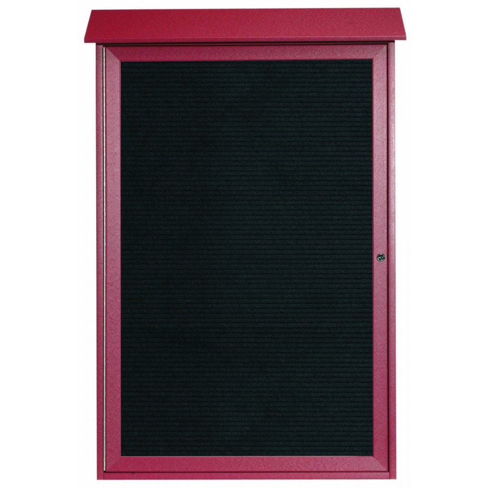 Rosewood Single Hinged Door Plastic Lumber Message Center with Letter Board- 48