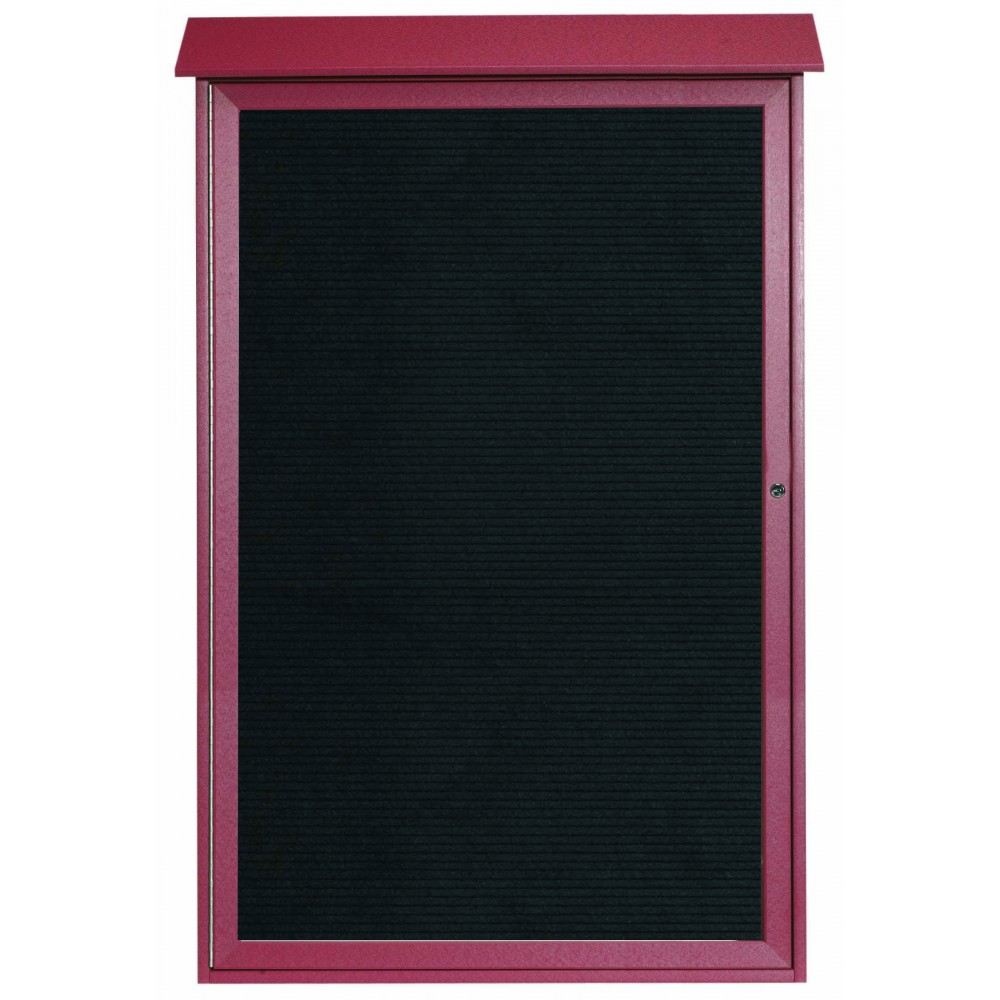 Rosewood Single Hinged Door Plastic Lumber Message Center with Letter Board- 54