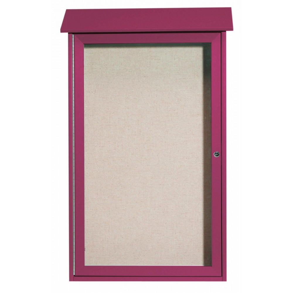 Rosewood Single Hinged Door Plastic Lumber Message Center with Vinyl Posting Surface- 42