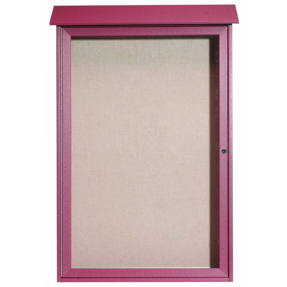 Rosewood Single Hinged Door Plastic Lumber Message Center with Vinyl Posting Surface- 48