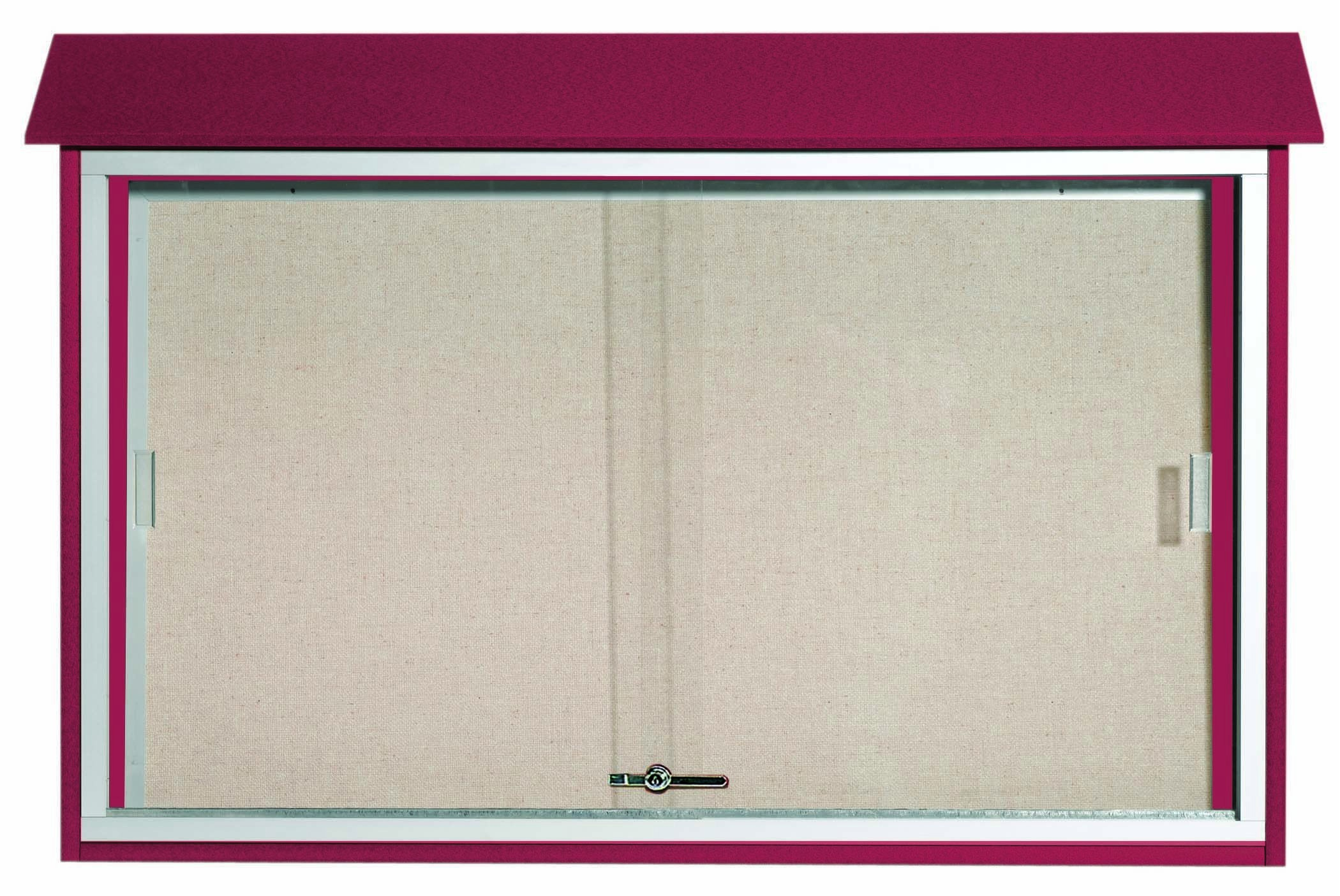 Rosewood Sliding Door Plastic Lumber Message Center with Vinyl Posting Surface-  30