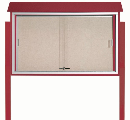 "Aarco Products PLDS3045DPP-7 Rosewood Sliding Door Plastic Lumber Message Center with Vinyl Posting Surface (Posts Included), 30""H x 45""W"