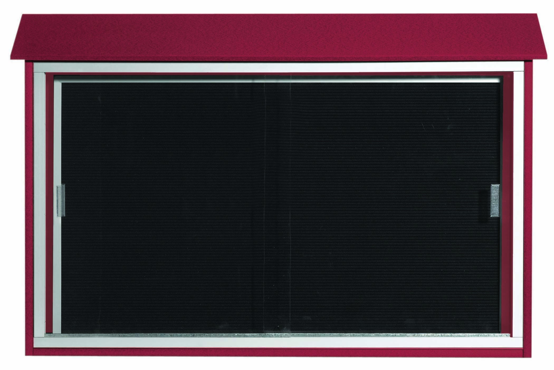 """Aarco Products PLDS3045L-7 Rosewood Sliding Door Plastic Lumber Message Center with Letter Board, 30""""H x 45""""W"""