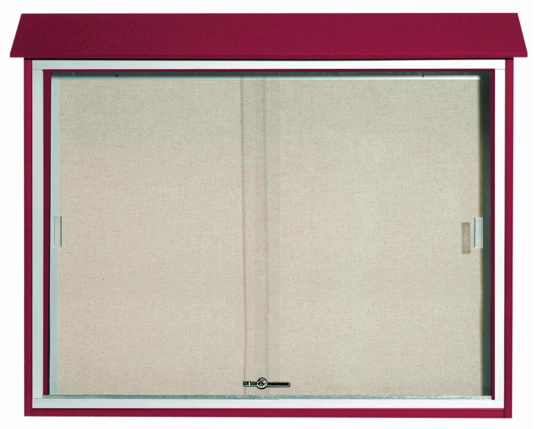 Rosewood Sliding Door Plastic Lumber Message Center with Vinyl Posting Surface- 36