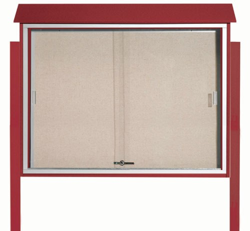 """Aarco Products PLDS3645DPP-7 Rosewood Sliding Door Plastic Lumber Message Center with Vinyl Posting Surface (Posts Included), 36""""H x 45""""W"""
