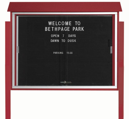 "Aarco Products PLDS3645LDPP-7 Rosewood Sliding Door Plastic Lumber Message Center with Letter Board (Posts Included), 36""H x 45""W"