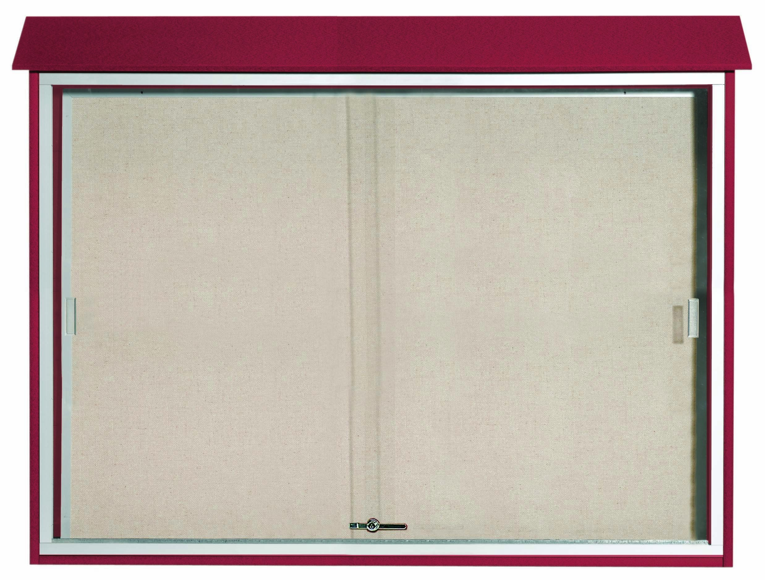 """Aarco Products PLDS4052-7 Rosewood Sliding Door Plastic Lumber Message Center with Vinyl Posting Surface, 40""""H x 52""""W"""