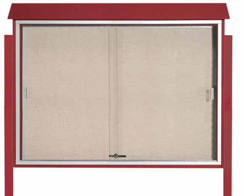 "Aarco Products PLDS4052DPP-7 Rosewood Sliding Door Plastic Lumber Message Center with Vinyl Posting Surface (Posts Included), 40""H x 52""W"