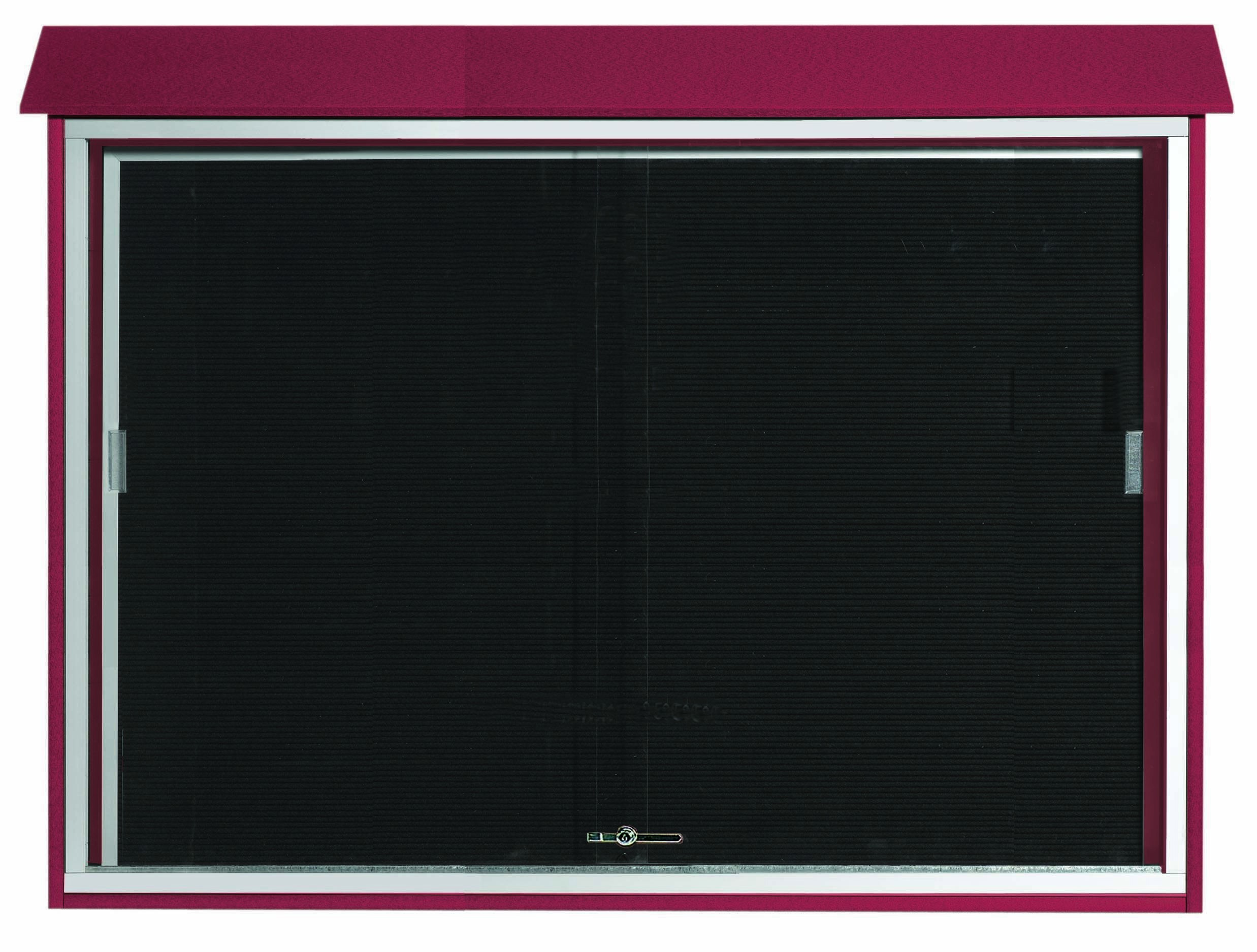 """Aarco Products PLDS4052L-7 Rosewood Sliding Door Plastic Lumber Message Center with Letter Board, 40""""H x 52""""W"""
