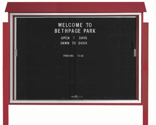 Rosewood Sliding Door Plastic Lumber Message Center with Letter Board (Posts Included)-40