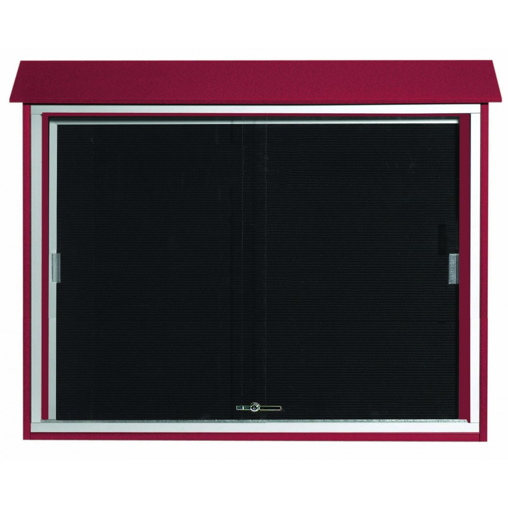 "Aarco Products PLDS3645L-7 Rosewood Sliding Door Plastic Lumber Message Center with Letter Board, 36""H x 45""W"
