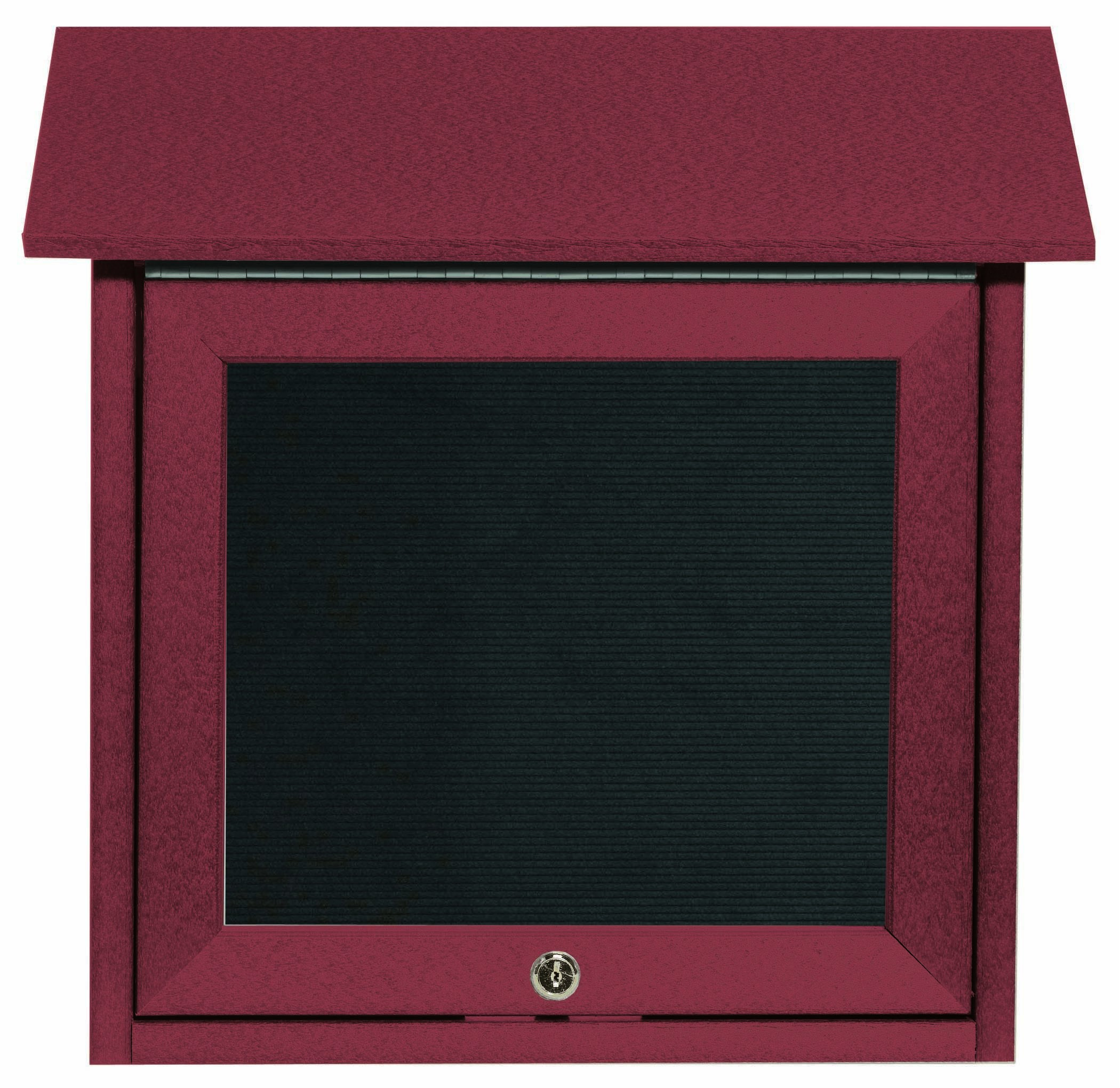 """Aarco Products OPLD1818L-7 Rosewood Slimline Series Top Hinged Single Door Plastic Lumber Message Center with Letter Board 18""""H x 18""""W"""