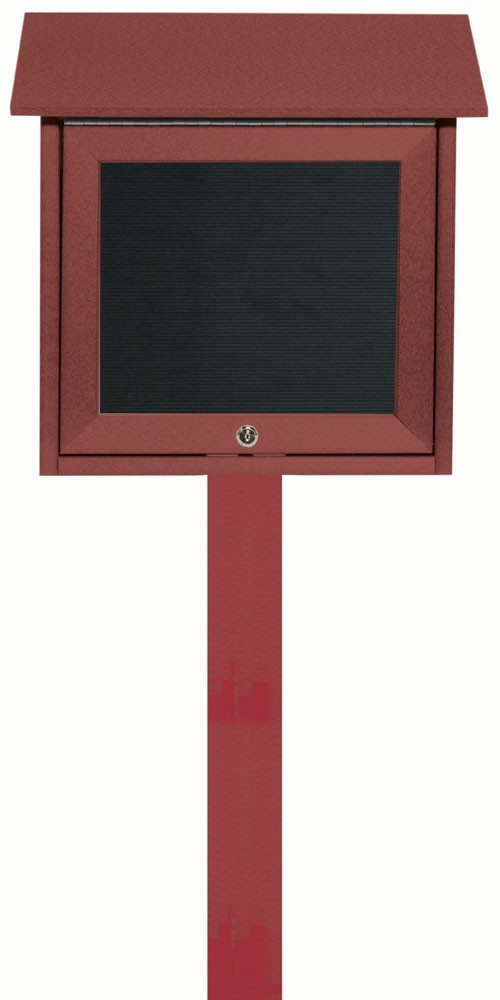 "Aarco Products OPLD1818LSPP-7 Rosewood Slimline Series Top Hinged Single Door Plastic Lumber Message Center with Letter Board (Post Included) 18""H x 18""W"