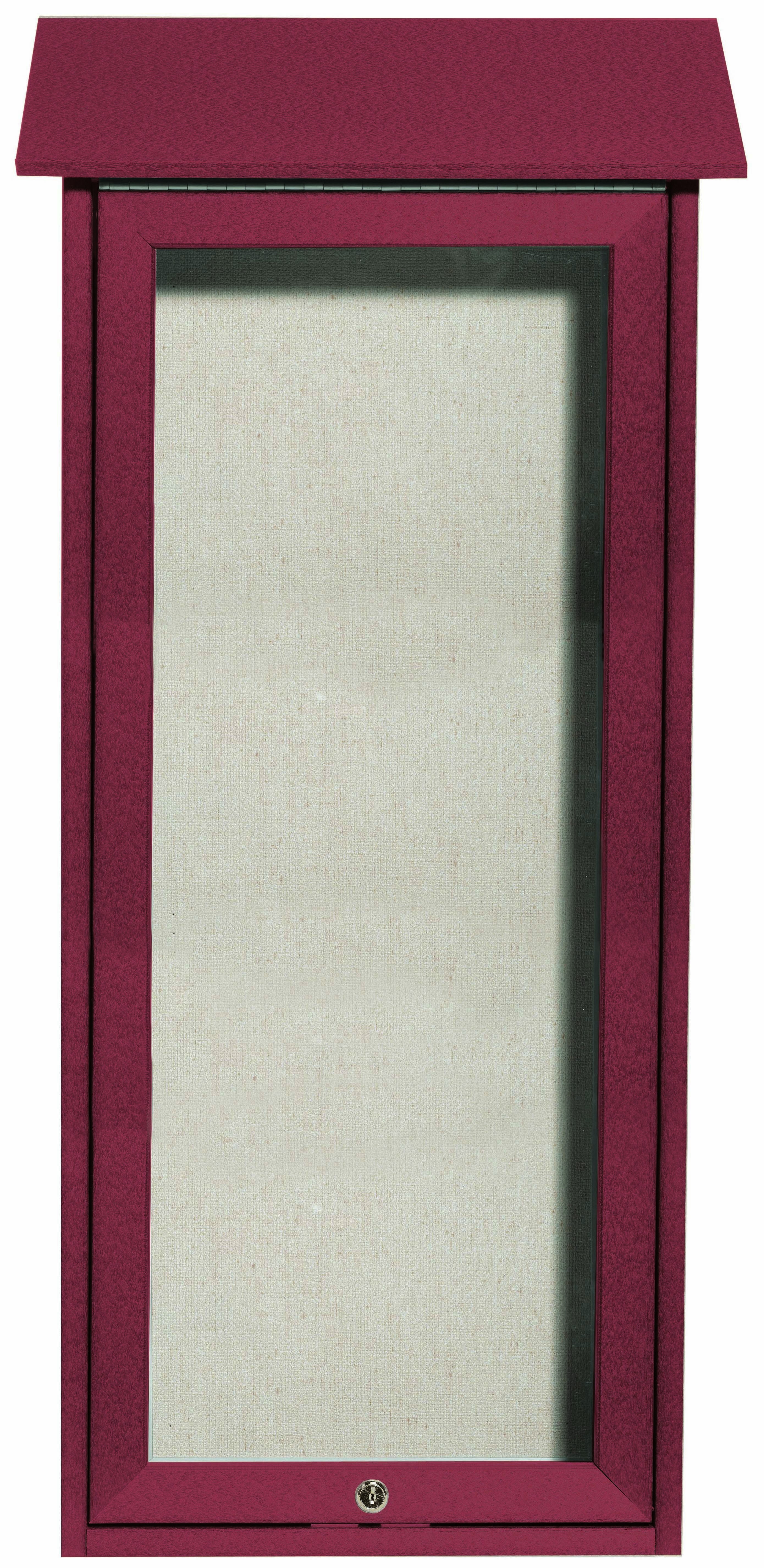 """Aarco Products OPLD3416-7 Rosewood Slimline Series Top Hinged Single Door Plastic Lumber Message Center with Vinyl Posting Surface- 34""""H x 16""""W"""