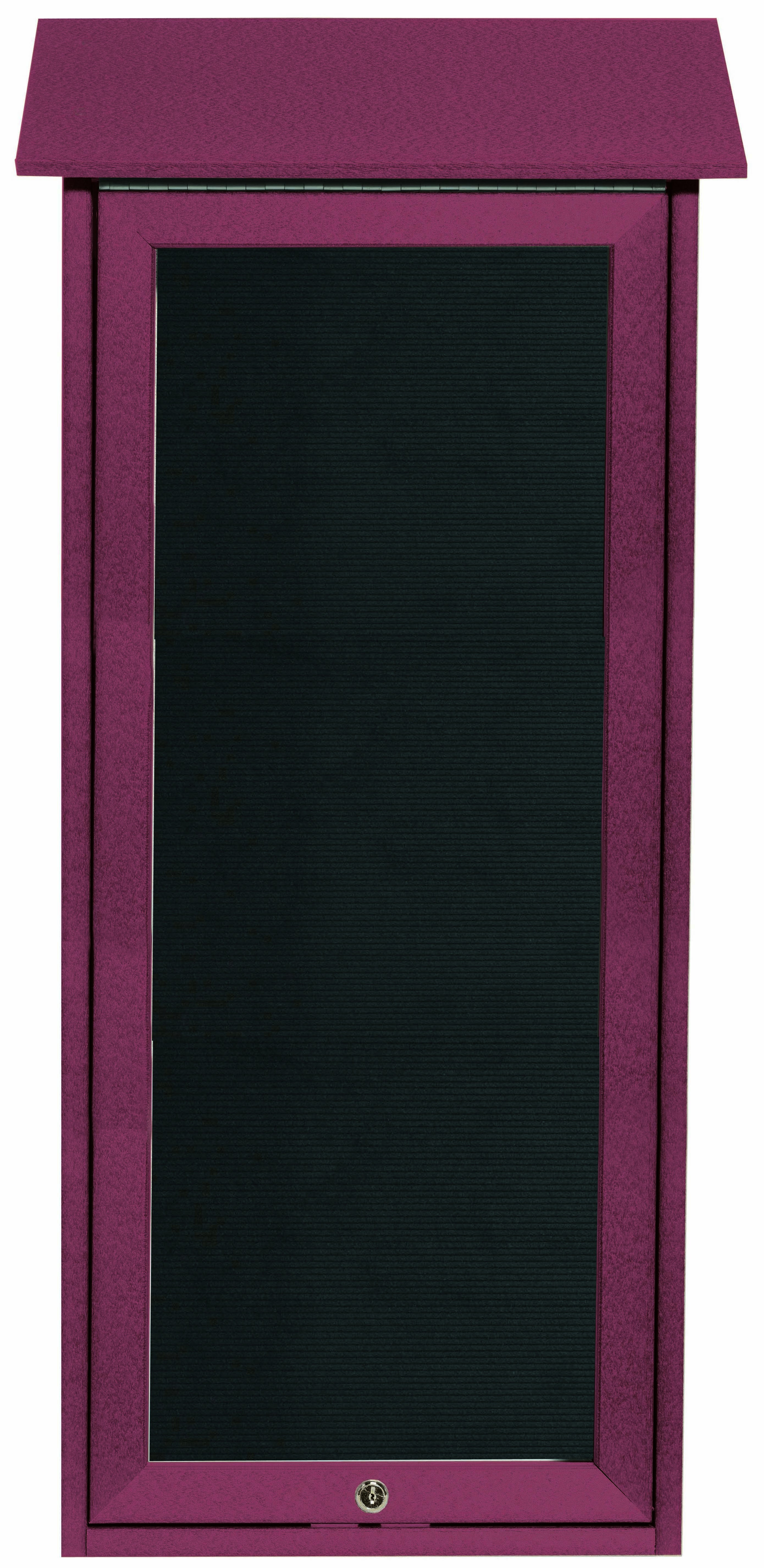 """Aarco Products OPLD3416L-7 Rosewood Slimline Series Top Hinged Single Door Plastic Lumber Message Center with Letter Board- 34""""H x 16""""W"""