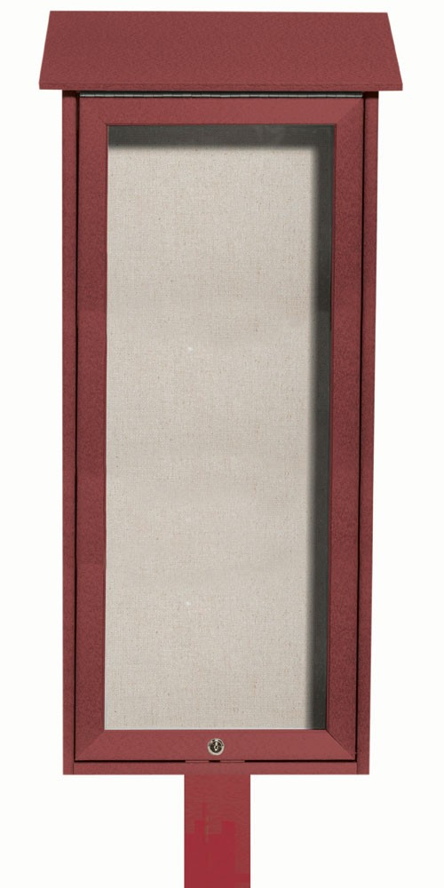 Rosewood Slimline Series Top Hinged Single Door Plastic Lumber Message Center with Vinyl Posting Surface (Post Included)-  34