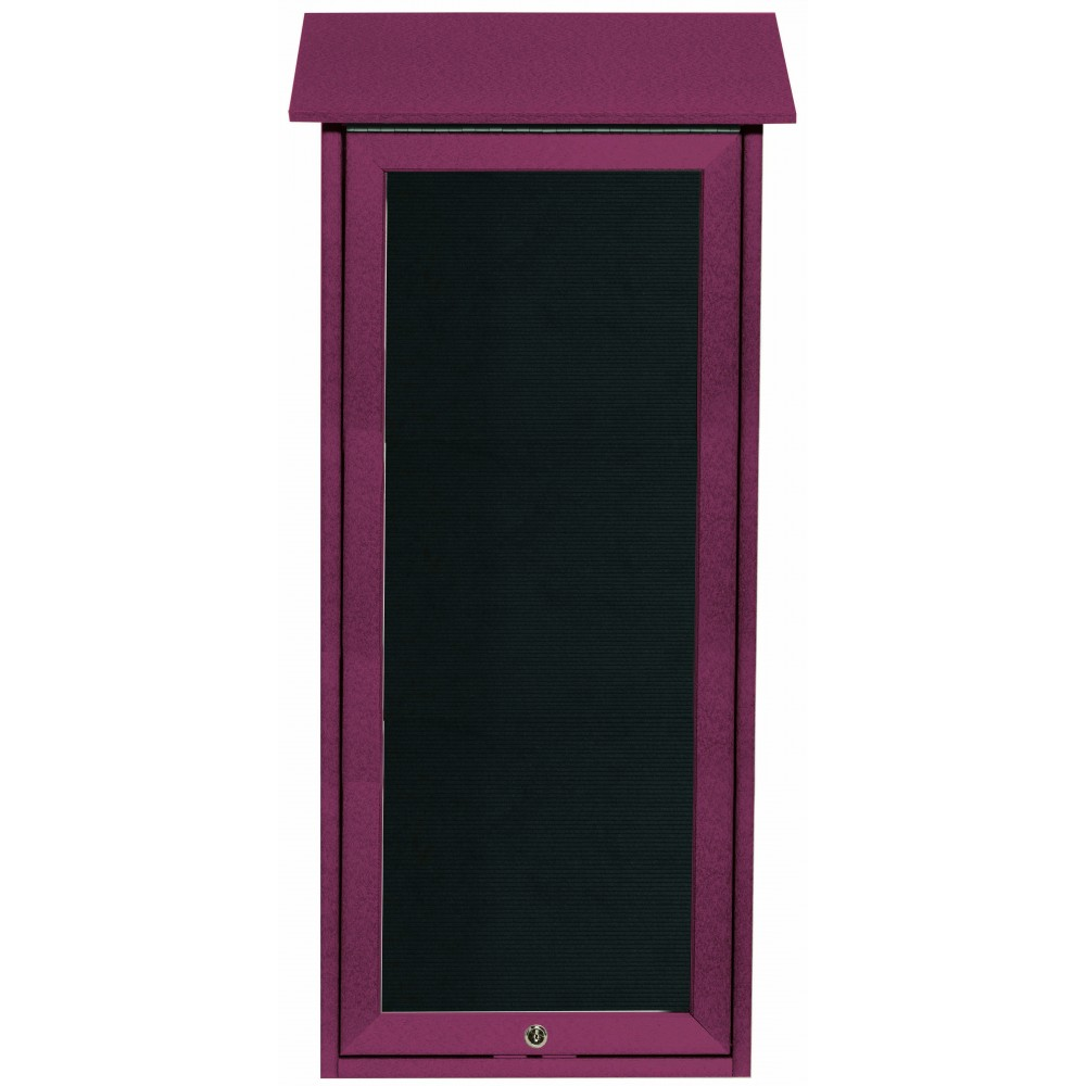 Rosewood Slimline Series Top Hinged Single Door Plastic Lumber Message Center with Letter Board- 34