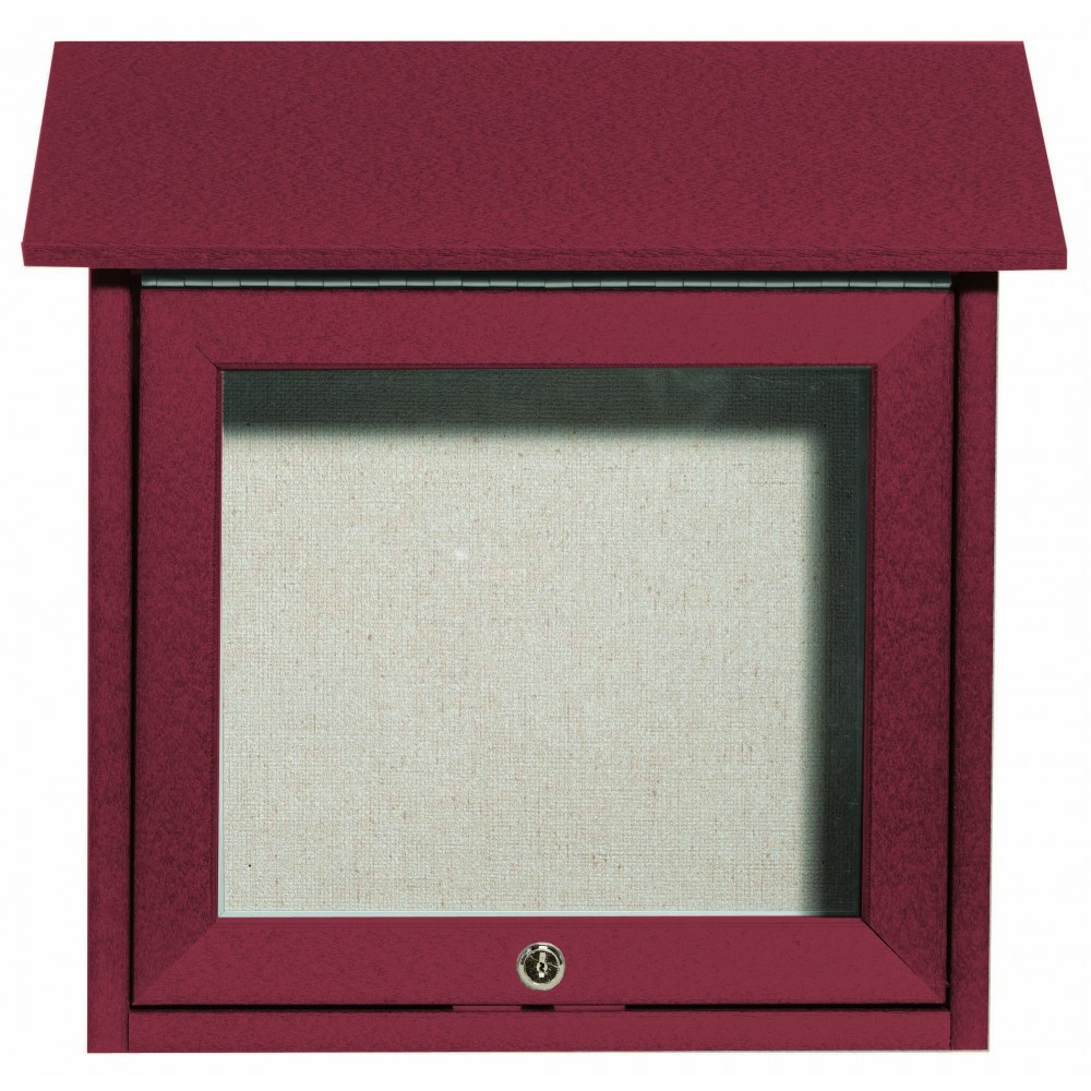 Rosewood Slimline Series Top Hinged Single Door Plastic Lumber Message Center with Vinyl Posting Surface- 18