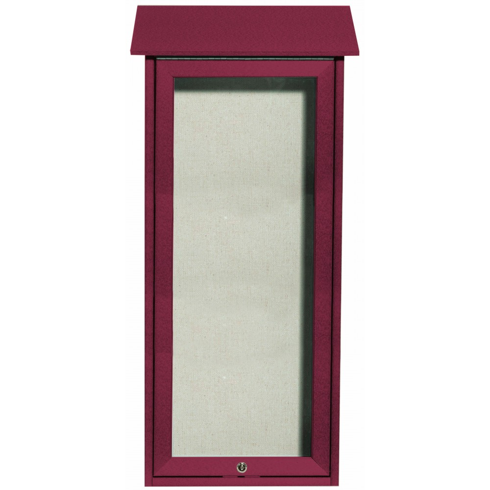 "Aarco Products OPLD3416-7 Rosewood Slimline Series Top Hinged Single Door Plastic Lumber Message Center with Vinyl Posting Surface- 34""H x 16""W"