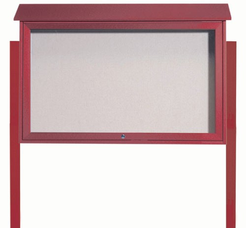 Rosewood Top Hinged Single Door Plastic Lumber Message Center with Vinyl Posting Surface (Posts Included)- 30