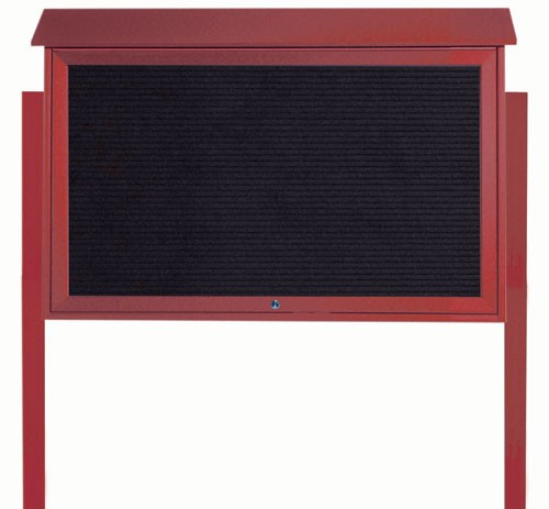 "Aarco Products PLD3045TLDPP-7 Rosewood Top Hinged Single Door Plastic Lumber Message Center with Letter Board (Posts Included), 30""H x 45""W"
