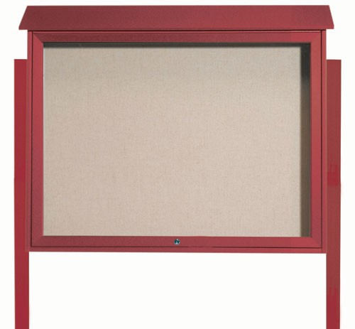 "Aarco Products PLD3645TDPP-7 Rosewood Top Hinged Single Door Plastic Lumber Message Center with Vinyl Posting Surface (Posts Included), 36""H x 45""W"