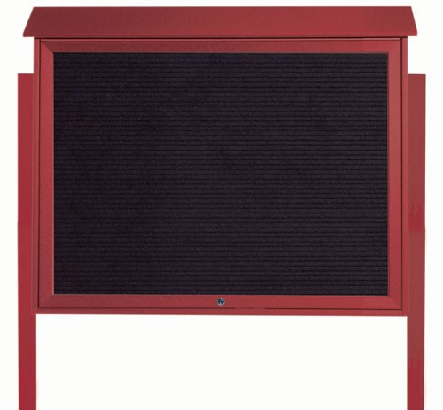 Rosewood Top Hinged Single Door Plastic Lumber Message Center with Letter Board (Posts Included)- 36