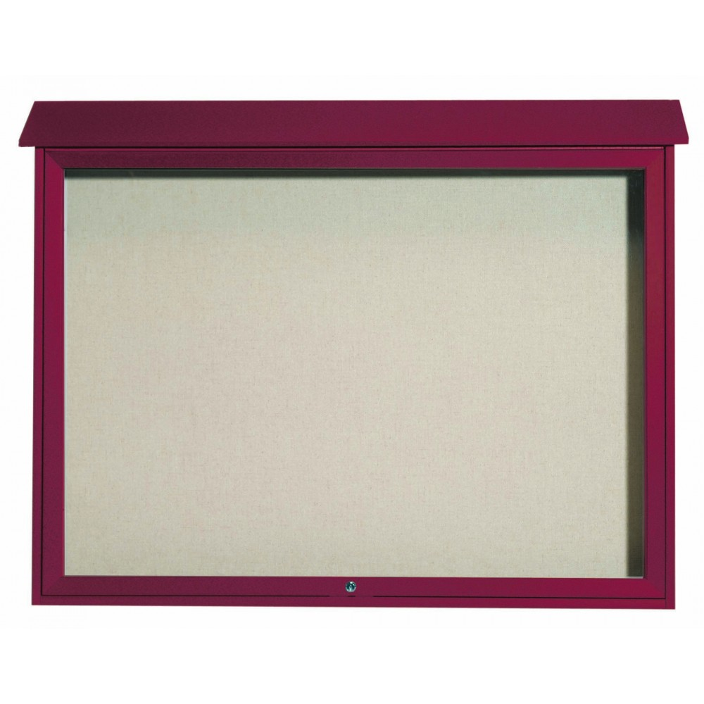Rosewood Top Hinged Single Door Plastic Lumber Message Center with Vinyl Posting Surface- 40