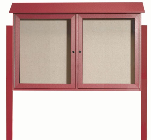 Rosewood Two Door Hinged Door Plastic Lumber Message Center with Vinyl Posting Surface (Posts Included)- 30