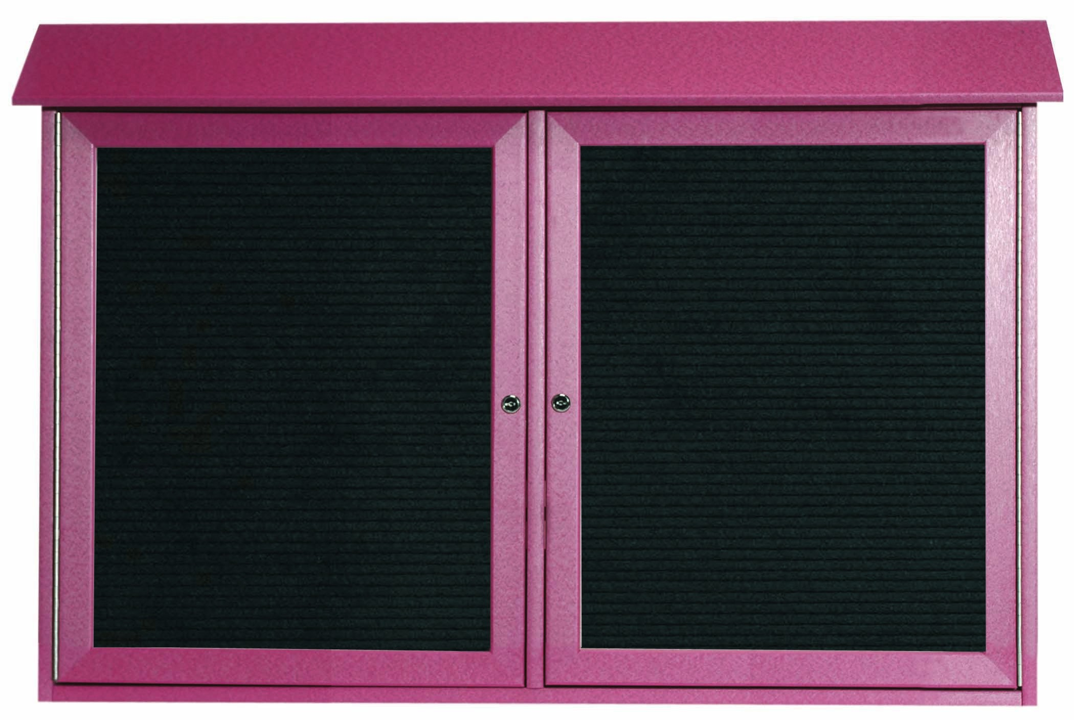 """Aarco Products PLD3045-2L-7 Rosewood Two Door Hinged Door Plastic Lumber Message Center with Letter Board, 30""""H x 45""""W"""