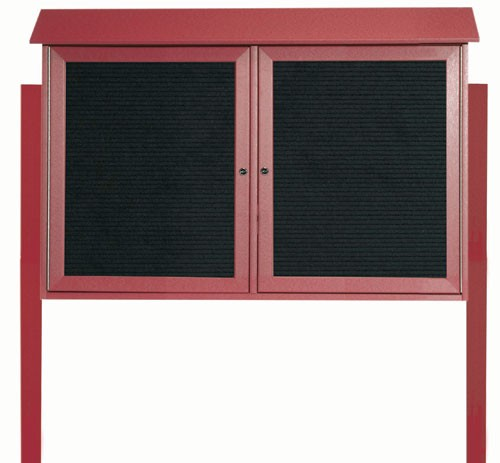 """Aarco Products PLD3045-2LDPP-7 Rosewood Two Door Hinged Door Plastic Lumber Message Center with Letter Board (Posts Included), 30""""H x 45""""W"""