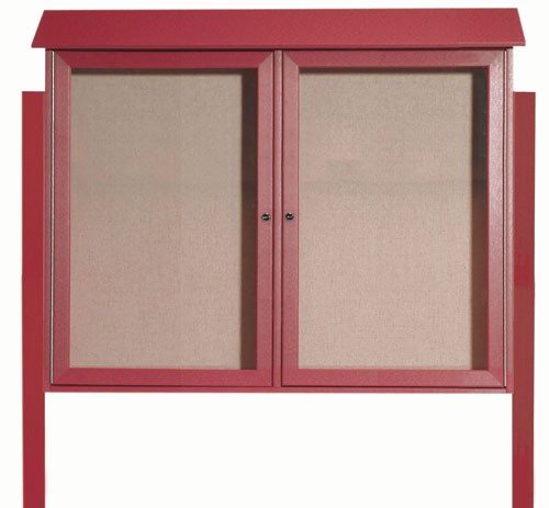 Rosewood Two Door Hinged Door Plastic Lumber Message Center with Vinyl Posting Surface (Posts Included)-36