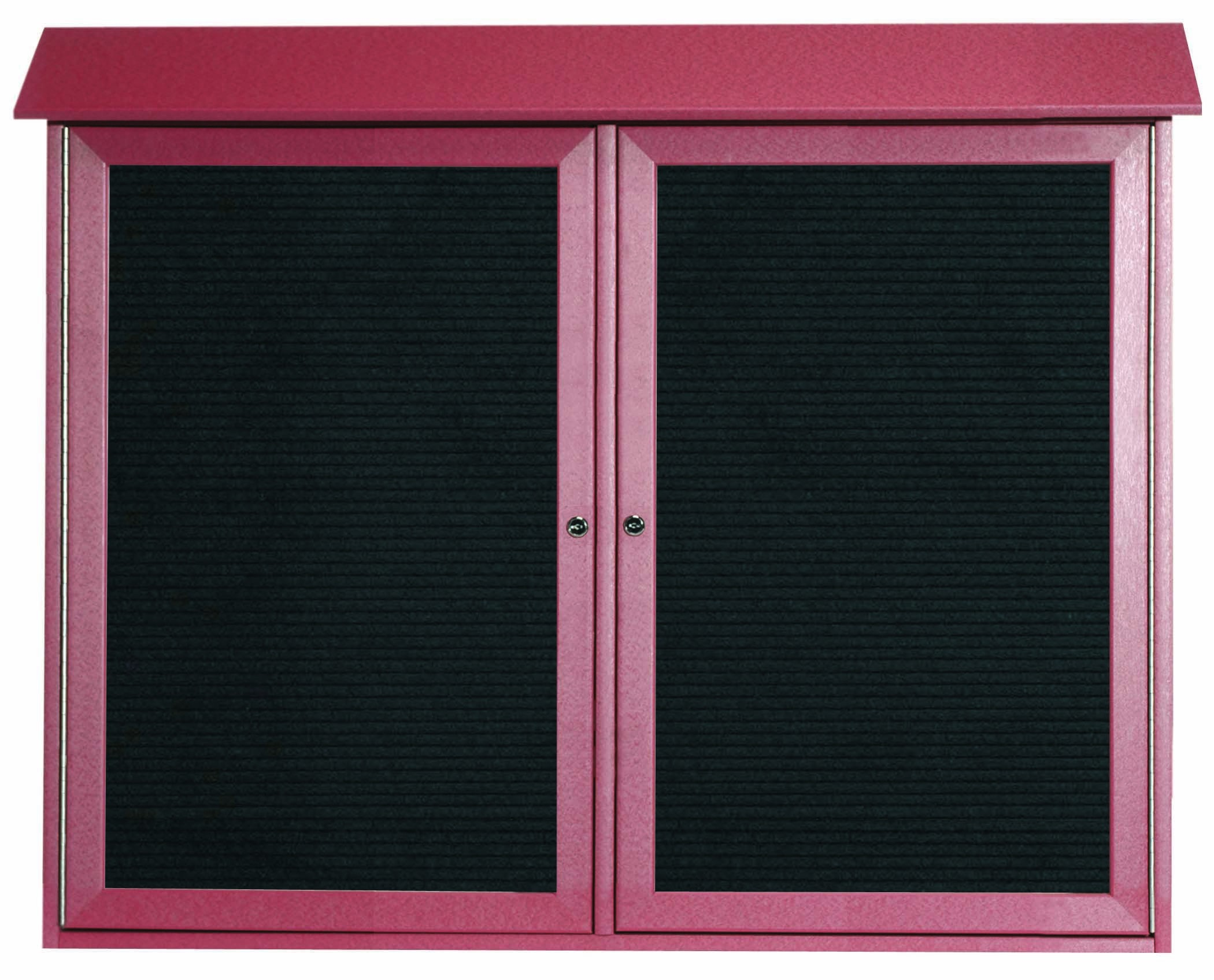 "Aarco Products PLD3645-2L-7 Rosewood Two Door Hinged Door Plastic Lumber Message Center with Letter Board, 36""H x 45""W"