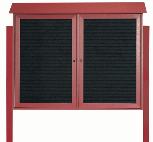 "Aarco Products PLD3645-2LDPP-7 Rosewood Two Door Hinged Door Plastic Lumber Message Center with Letter Board (Posts Included), 36""H x 45""W"